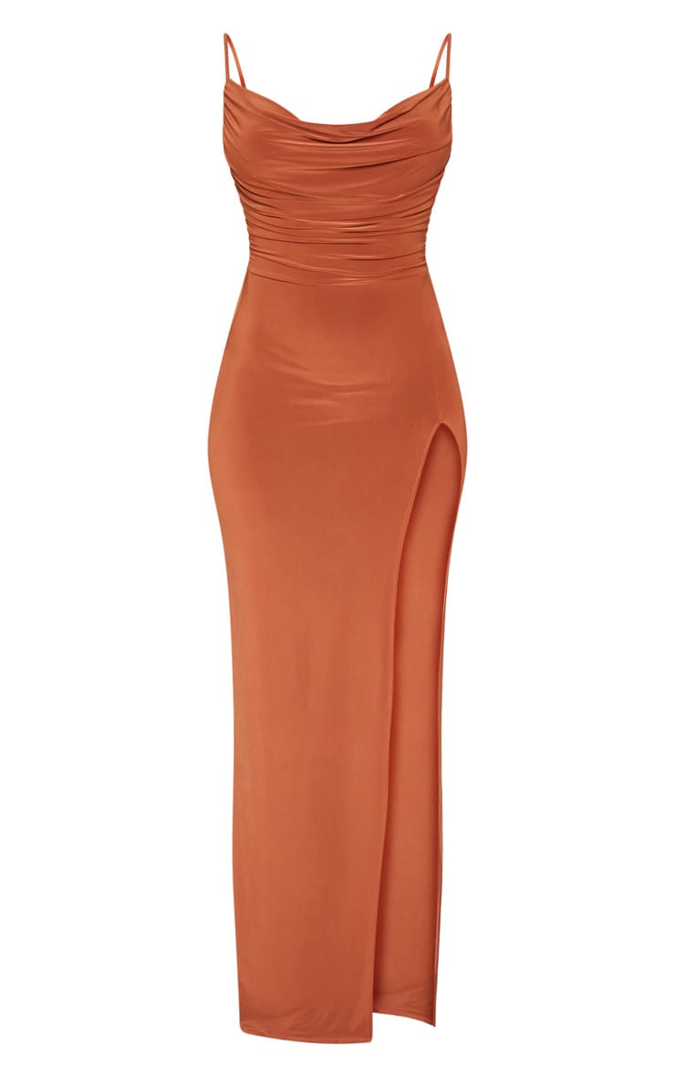Terracotta Slinky Ruched Drape Split Leg Maxi Dress 3