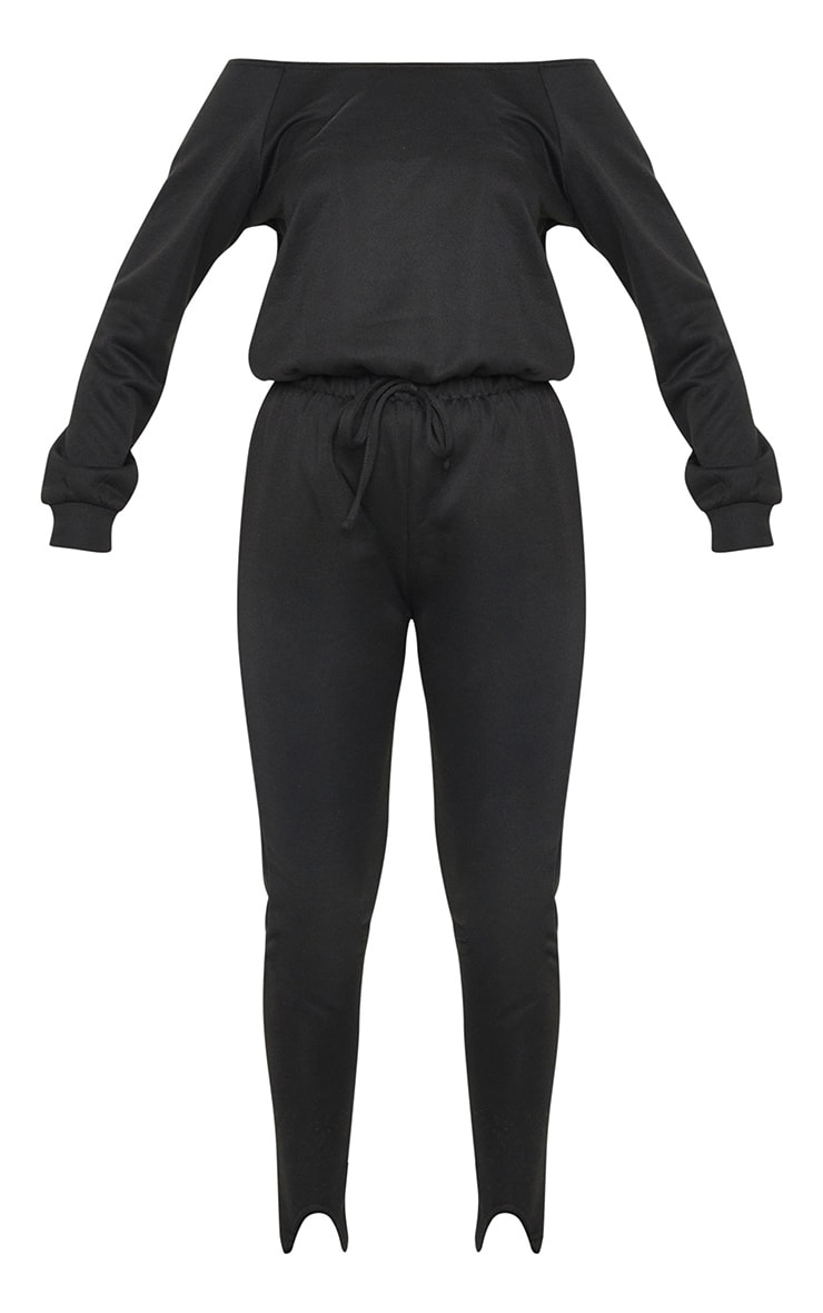 Black Sweat Bardot Stirrup Jumpsuit 5