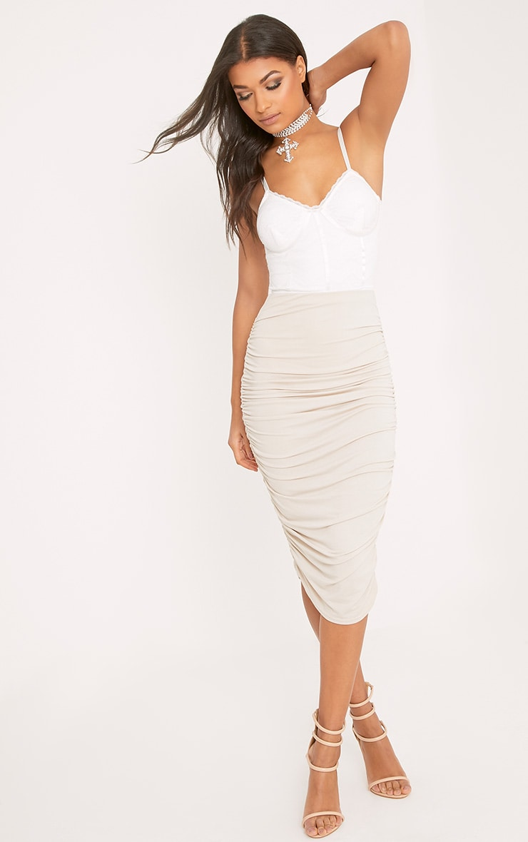Stone Second Skin Ruched Side Midi Skirt 1