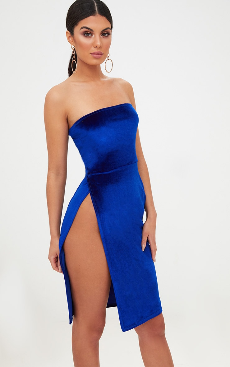 Cobalt Velvet Extreme Split Bandeau Midi Dress 1