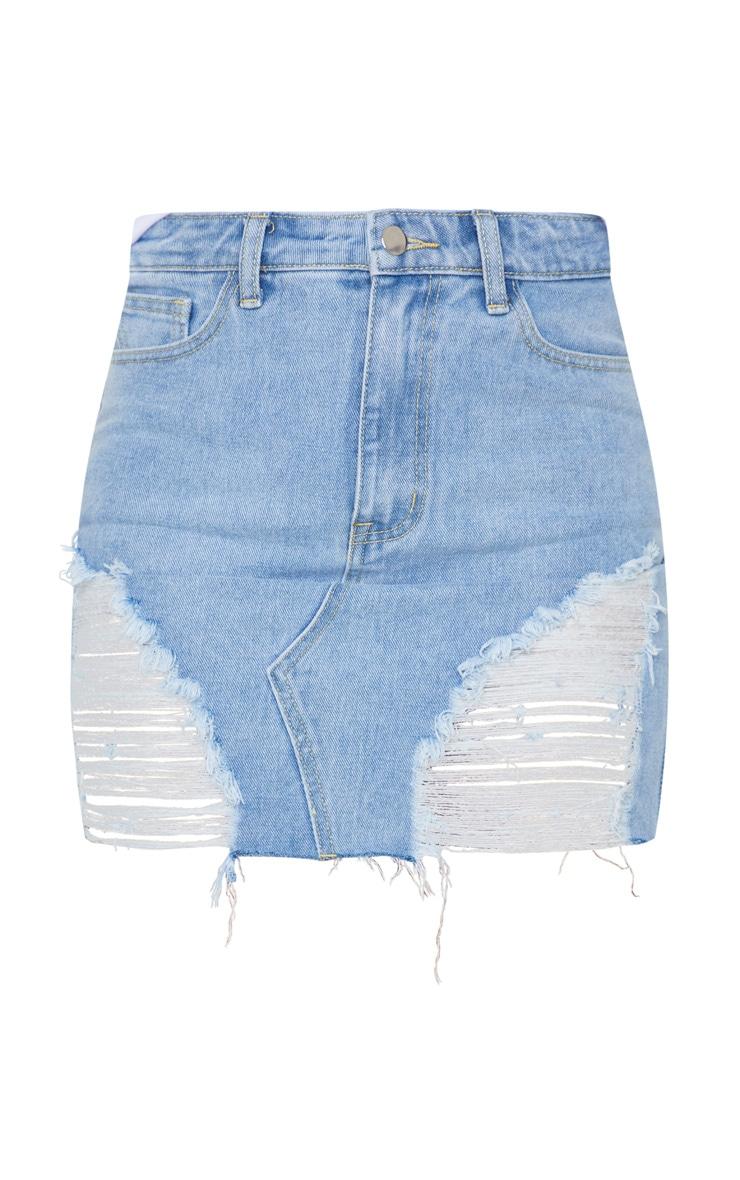 Light Blue Wash Distressed Mini Denim Skirt 6