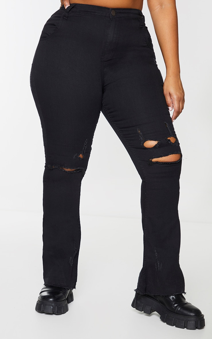 Plus Black Ripped Knee Flare Jeans 2