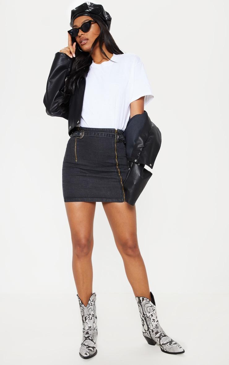 Black Denim Western Belted Mini Skirt 5