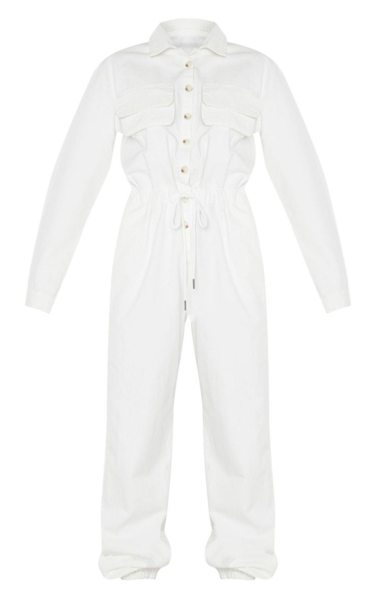 White Button Up Double Pocket Elastic Waist Denim Jumpsuit 5