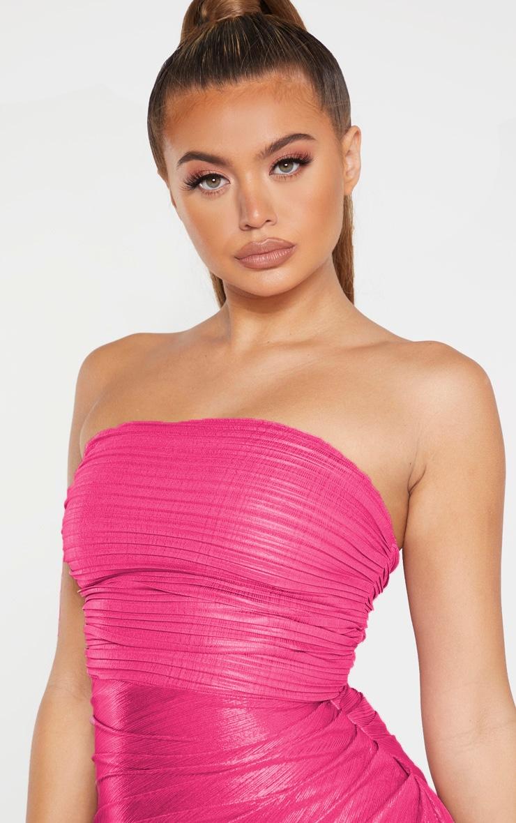 Pink Metallic Bandeau Drape Bodycon Dress 4