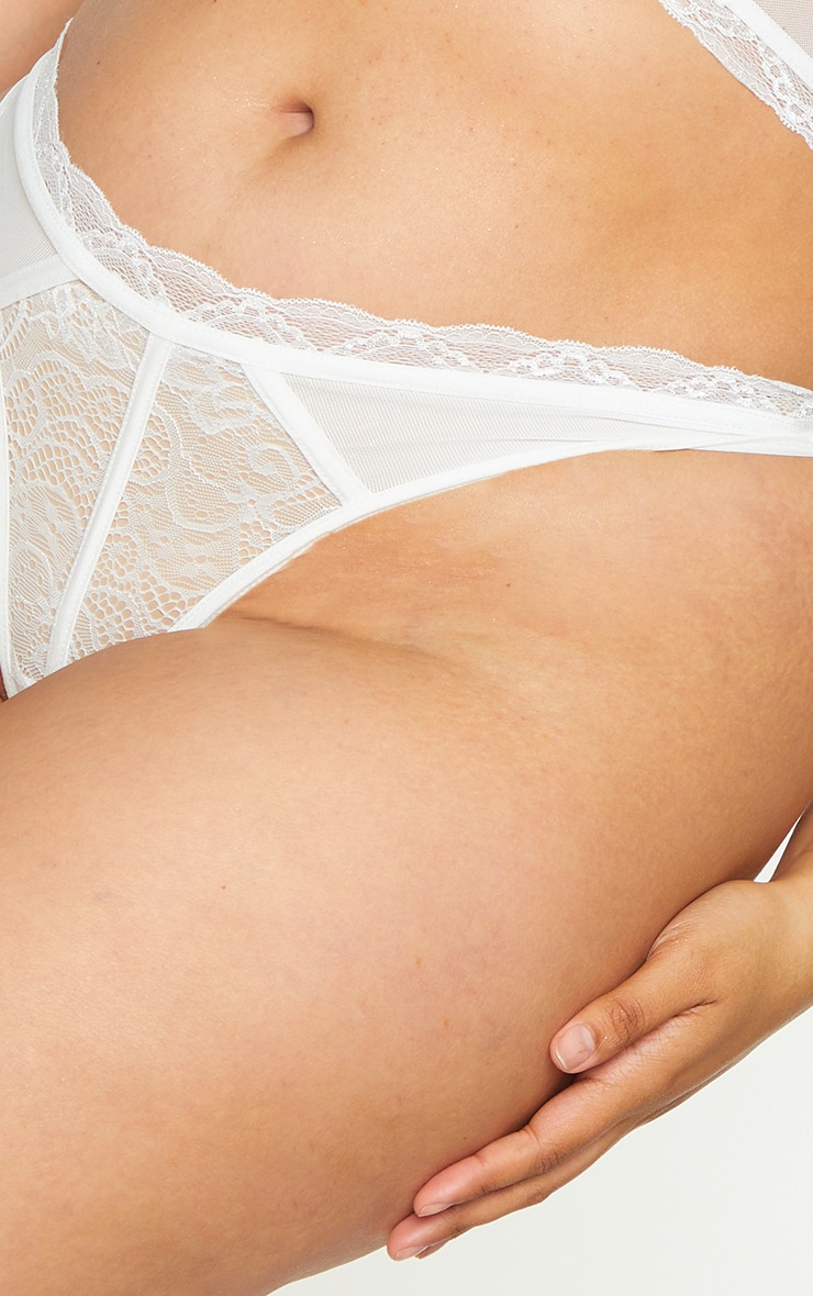 Plus White Lace Mesh Thong 4