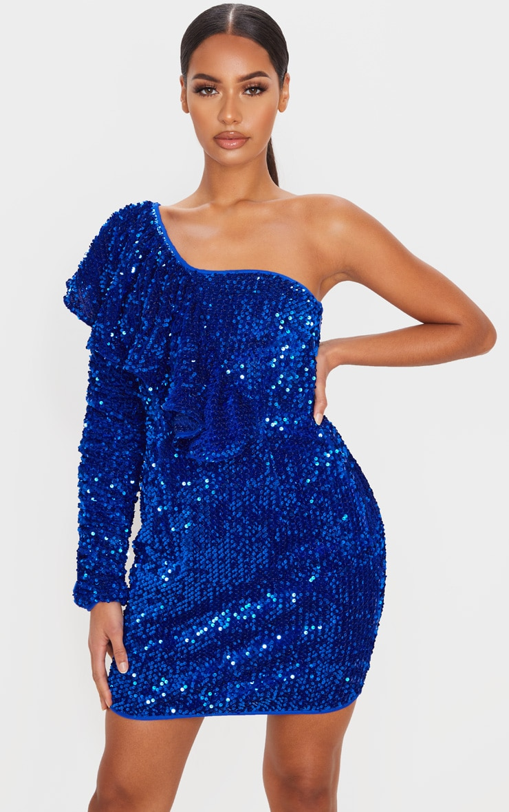 Cobalt Sequin One Shoulder Ruffle Detail Bodycon Dress 1