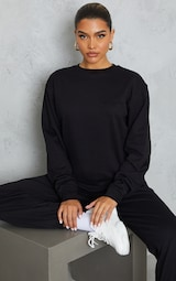 PRETTYLITTLETHING Black Embroidered Sweatshirt 1