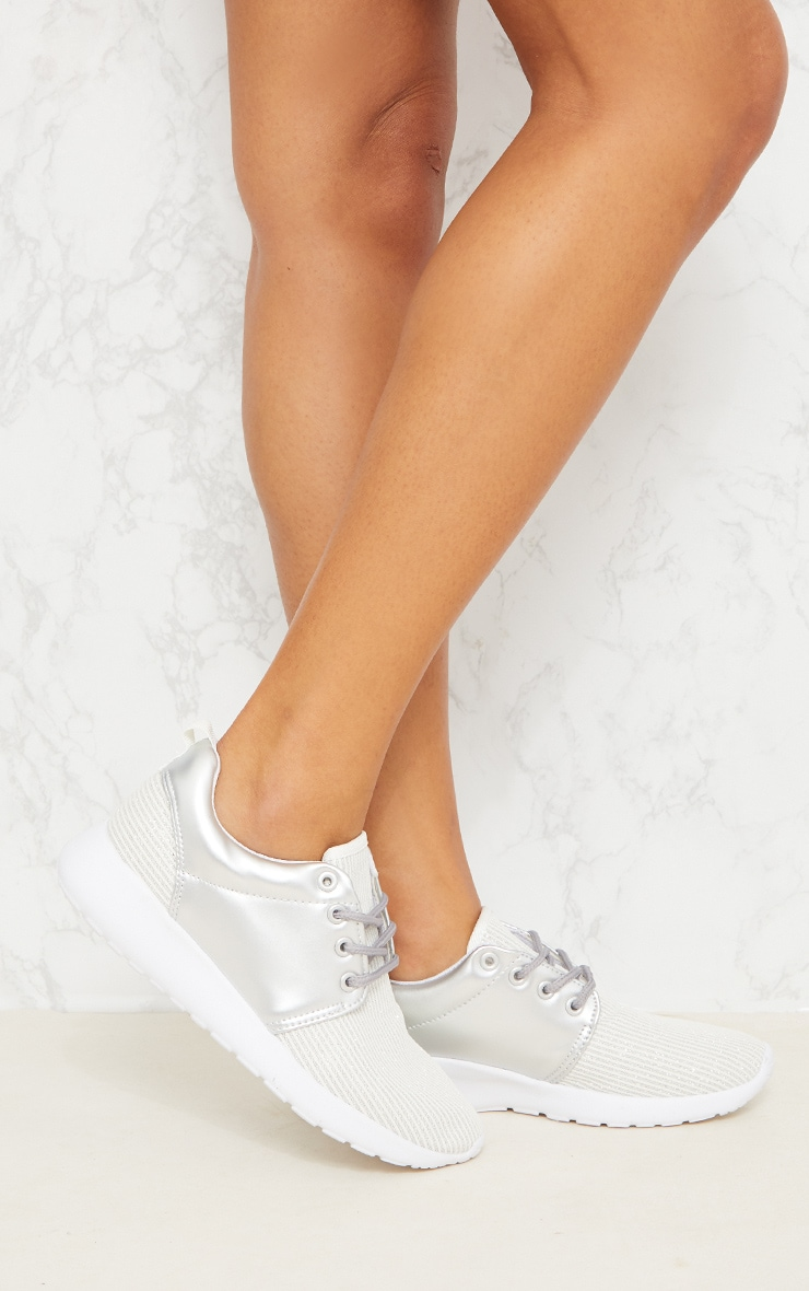 Silver Metallic Ribbed Trainers  2
