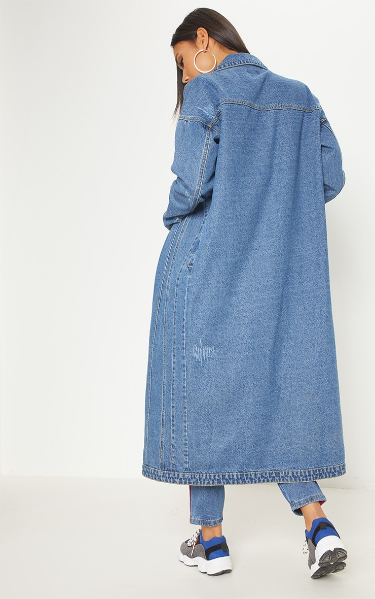 Light Wash Distressed Maxi Denim Jacket  2