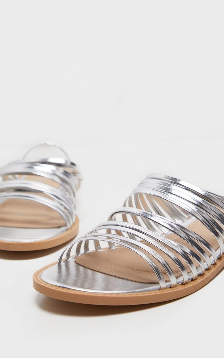 Silver Strappy Mule Flat Sandal 5