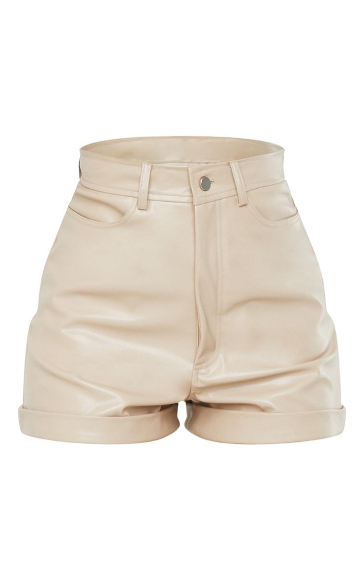 Stone Faux Leather Turn Up Hem Shorts 6