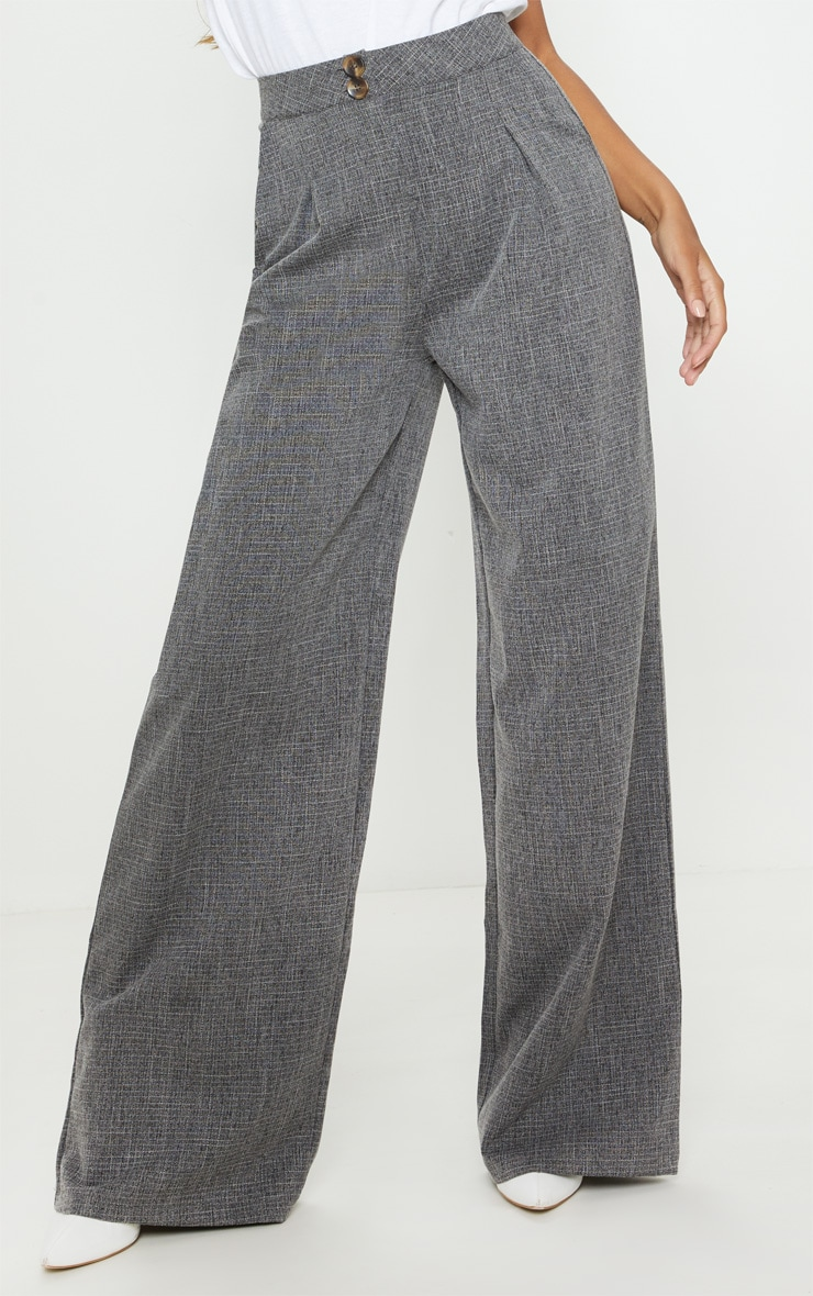Charcoal Grey Tortoise Shell Double Button Wide Leg Trouser 2