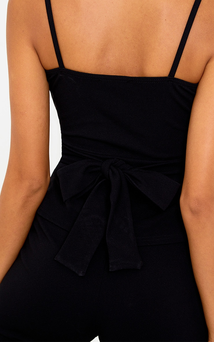 Black Square Neck Tie Waist Cami Top 5