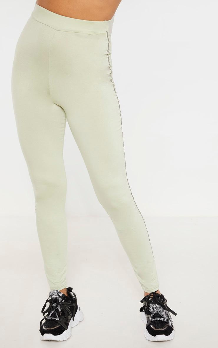 Sage Khaki Contrast Stitch Legging 2