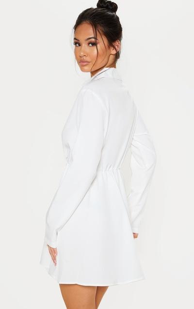White Pocket Front Elastic Waist Shirt Dress