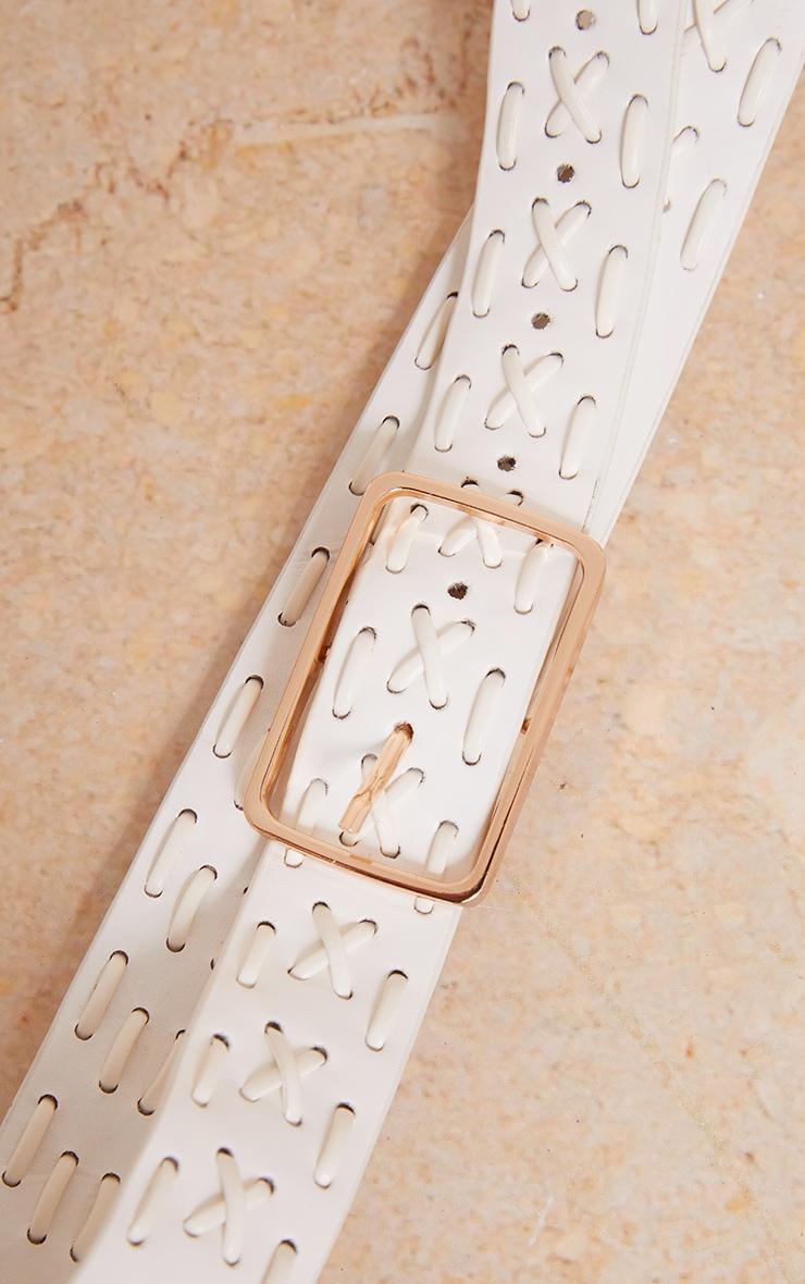 White Criss Cross Detail PU Waist Belt 3