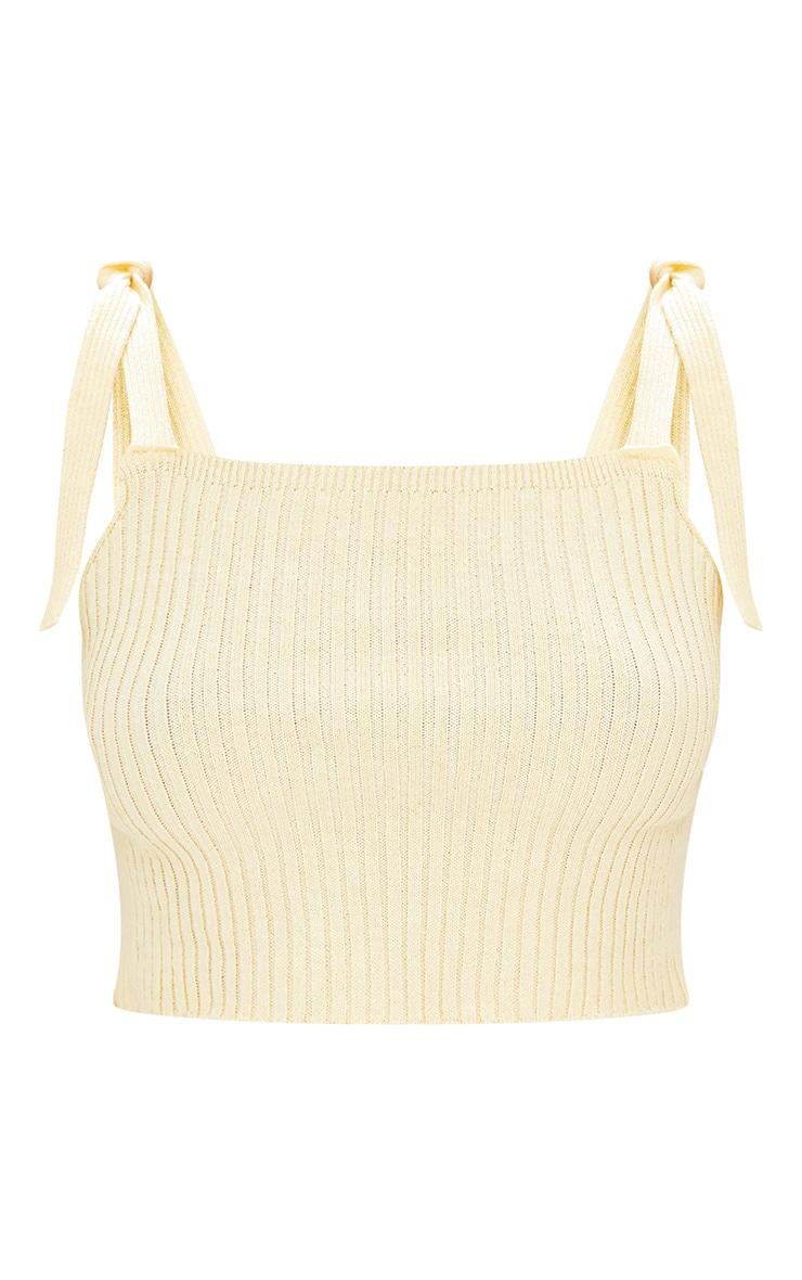 Yellow Strap Tie Knit Crop  3