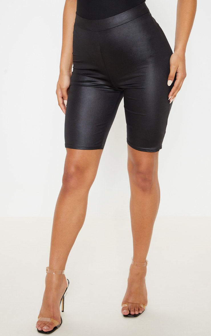 Black Wet Look Ruched Bum Cycle Short 2
