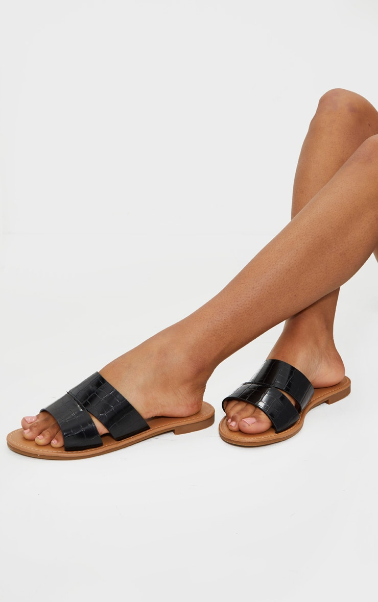 Black Croc Wide Fit Double Strap Mule Flat Sandal 1