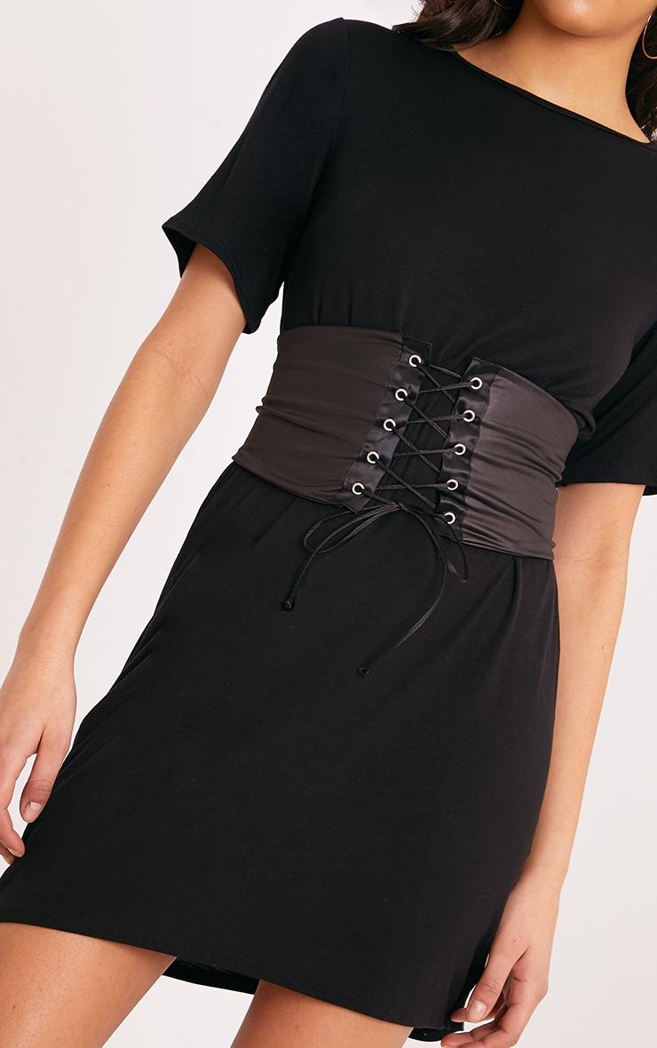 Reanna Black Corset T Shirt Dress  4
