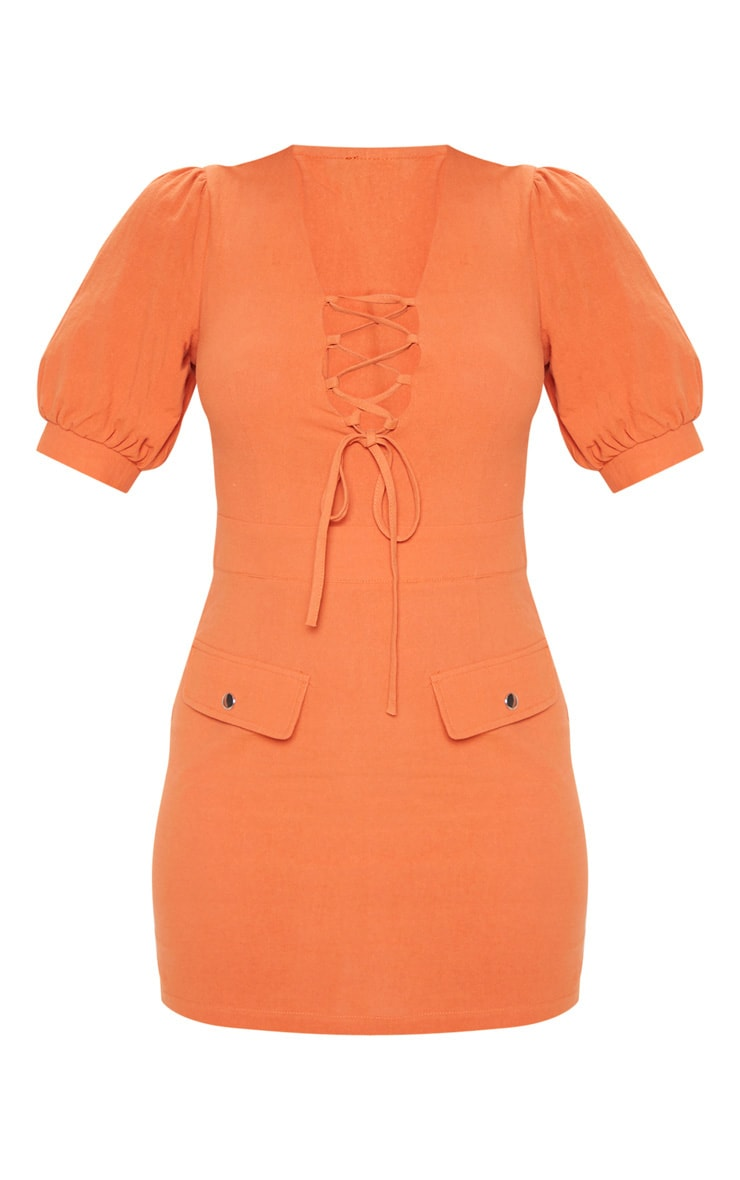 Rust Lace Up Pocket Front Utility Dress 3