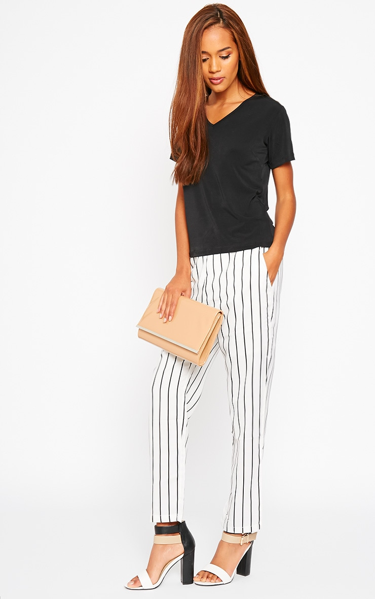 Ariela Cream Stripe Trousers 1