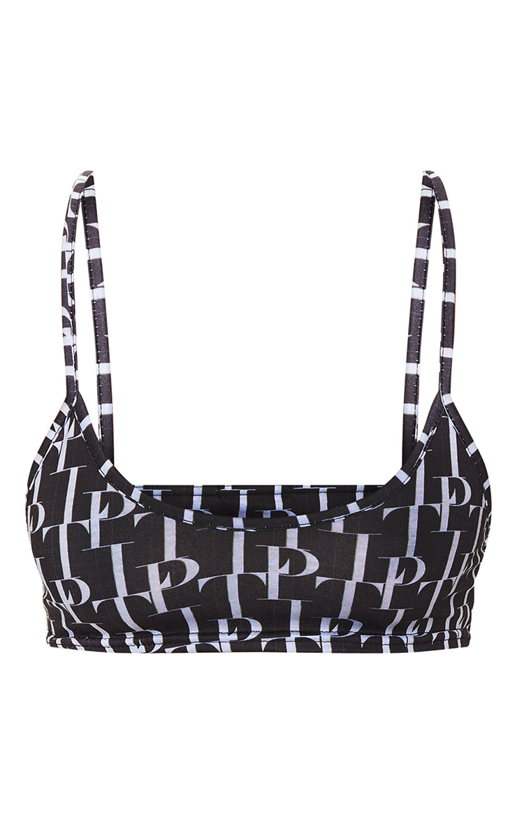 Basic PRETTYLITTLETHING Black Printed  Bralet 5