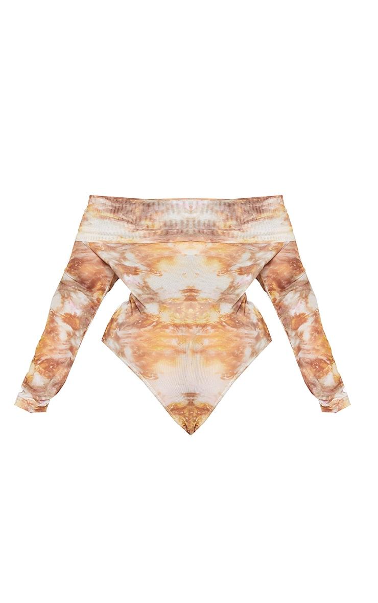 Plus Brown Tie Dye Print Mesh Bardot Bodysuit 6
