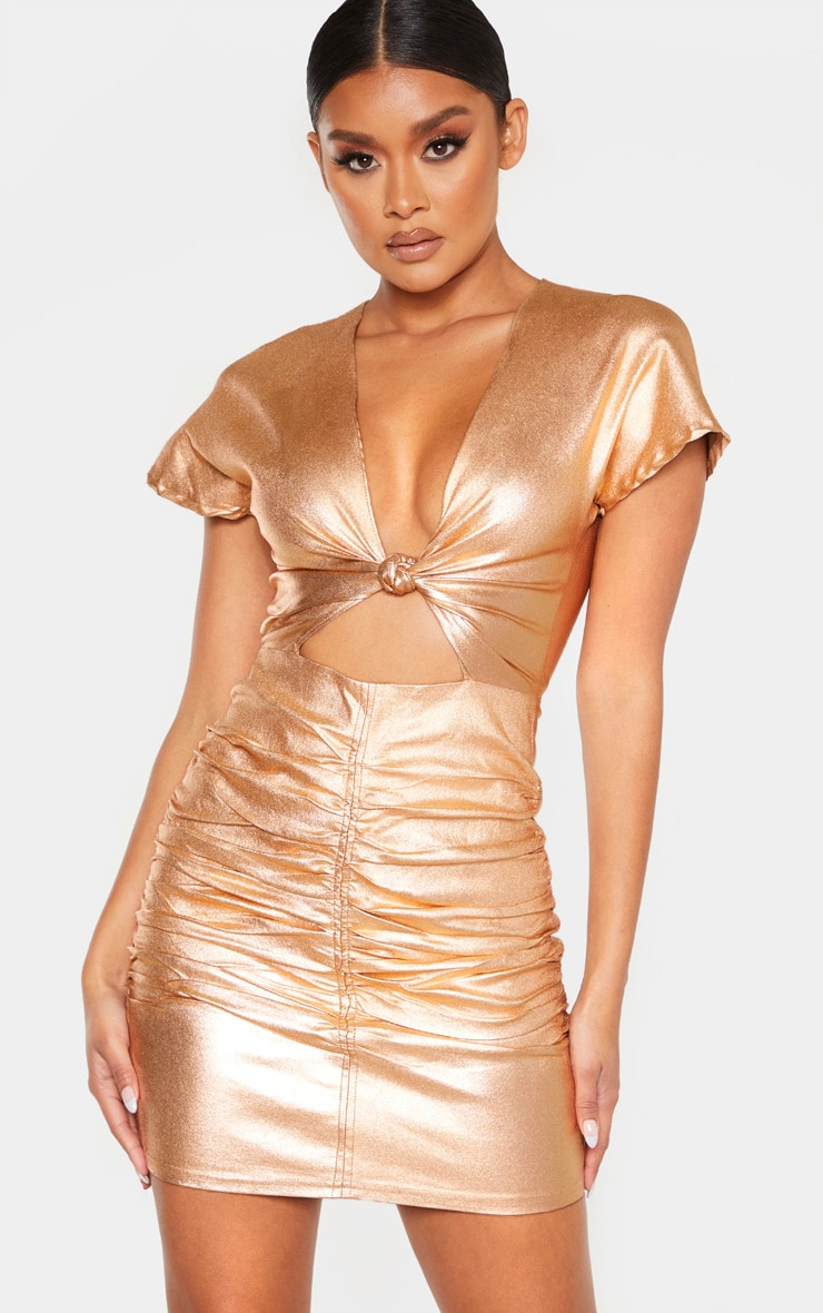 Bronze Metallic Cut Out Ruched Bodycon Dress 1