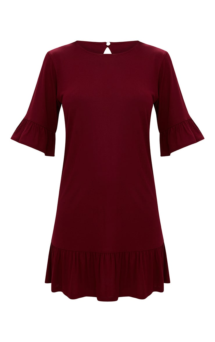Burgundy Jersey Frill Hem Shift Dress 3