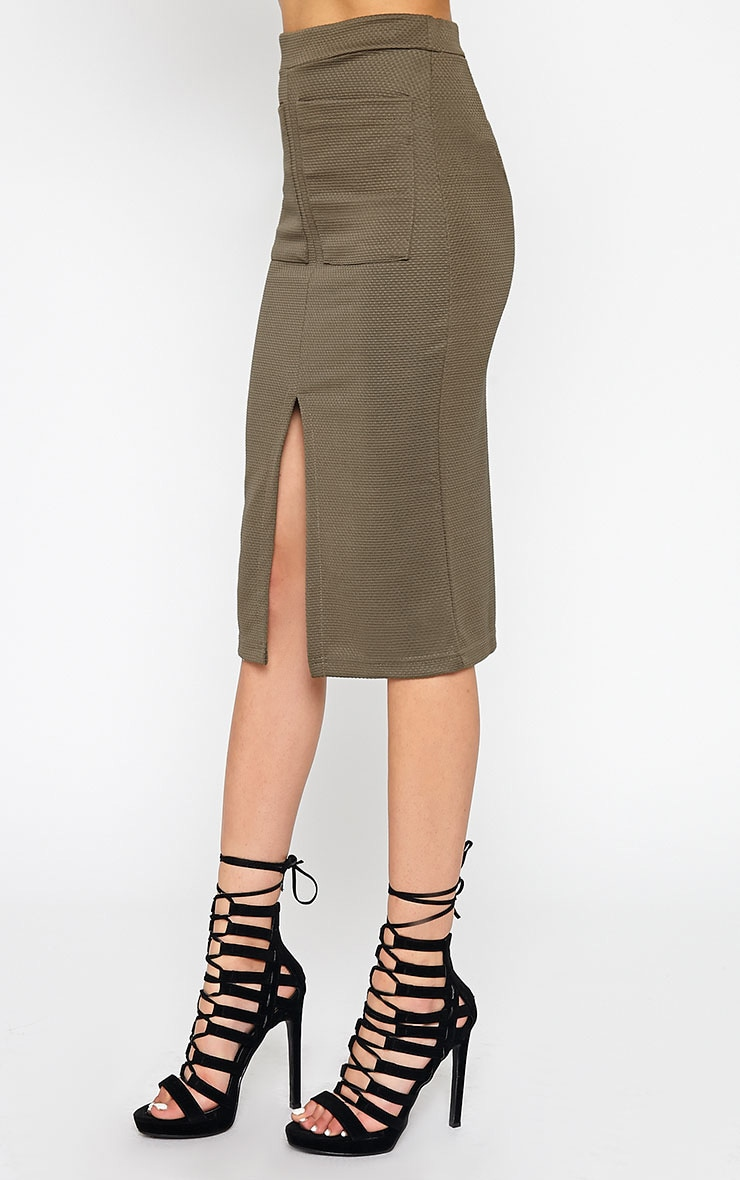 Nala Khaki Pencil Pocket Skirt 4