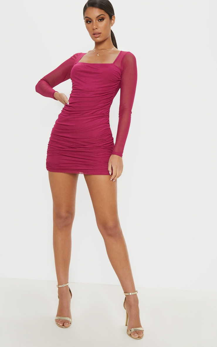 Hot Pink Mesh Square Neck Ruched Bodycon Dress 4