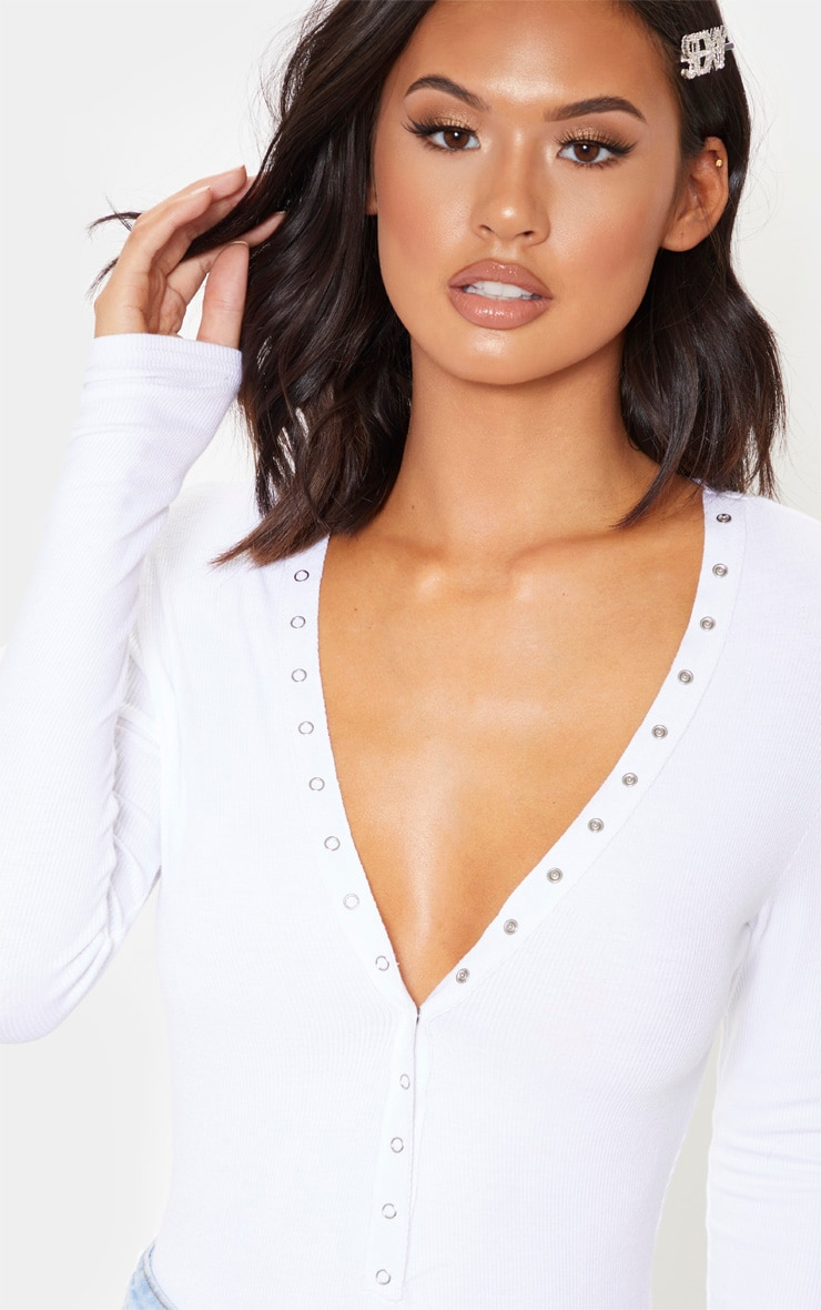 White Soft Rib Popper Detail Long Sleeve Bodysuit 6