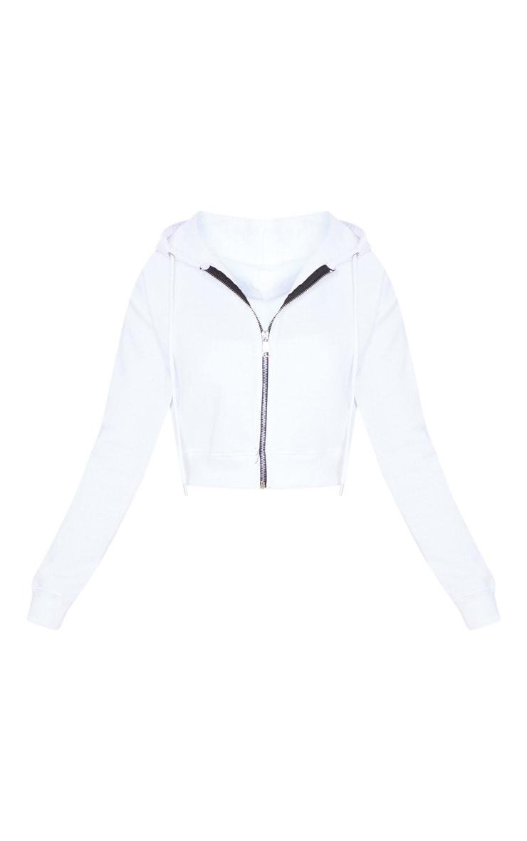 White Crop Zip Hoodie 3