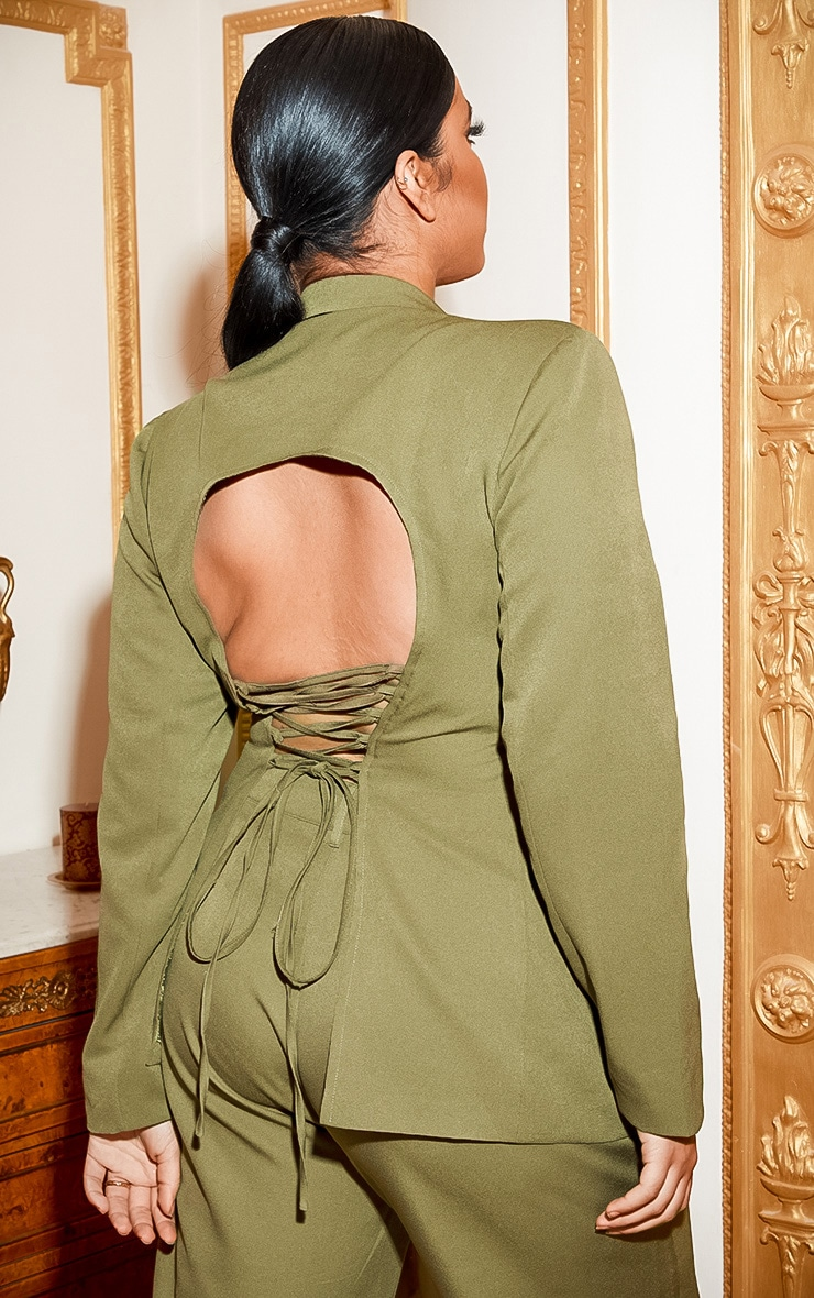 Plus Khaki Fitted Lace Up Back Blazer 3