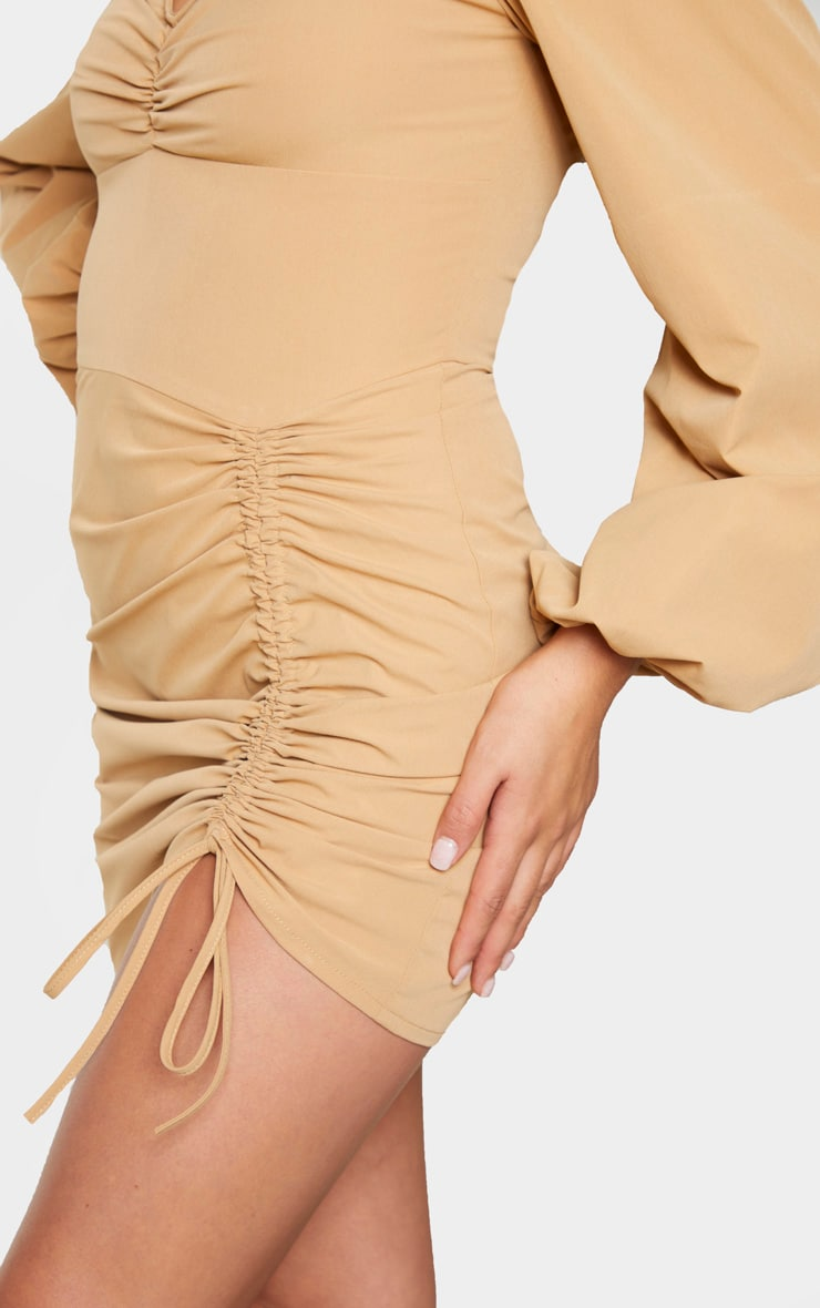 Stone Long Sleeve Sweetheart Neck Ruched Bodycon Dress 4