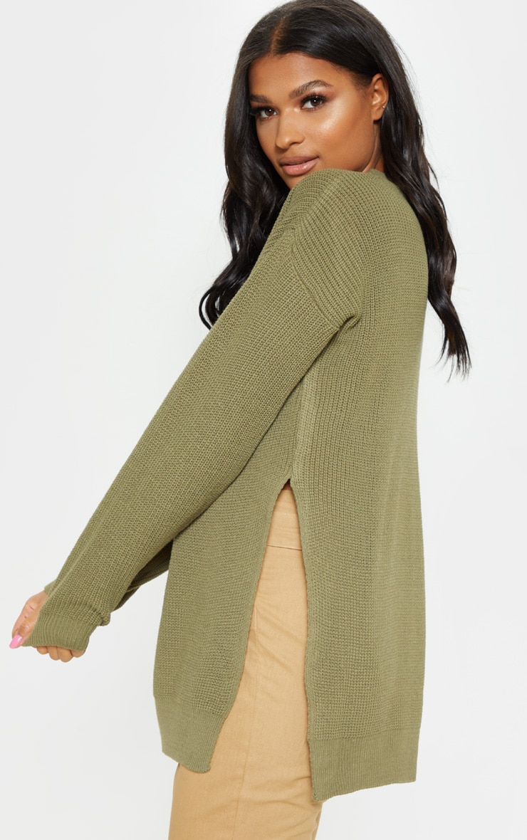 Rexx Khaki Round Neck Side Split Sweater 2