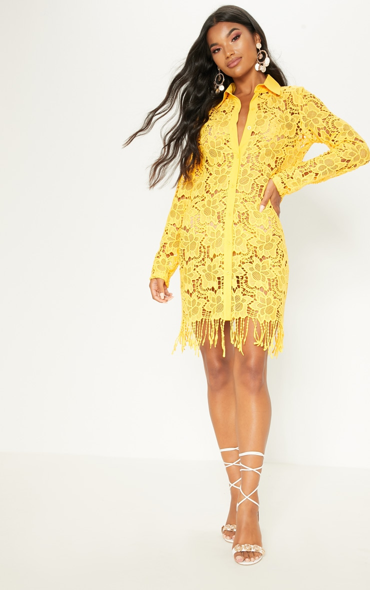 Yellow Sheer Crochet Shirt Dress 4