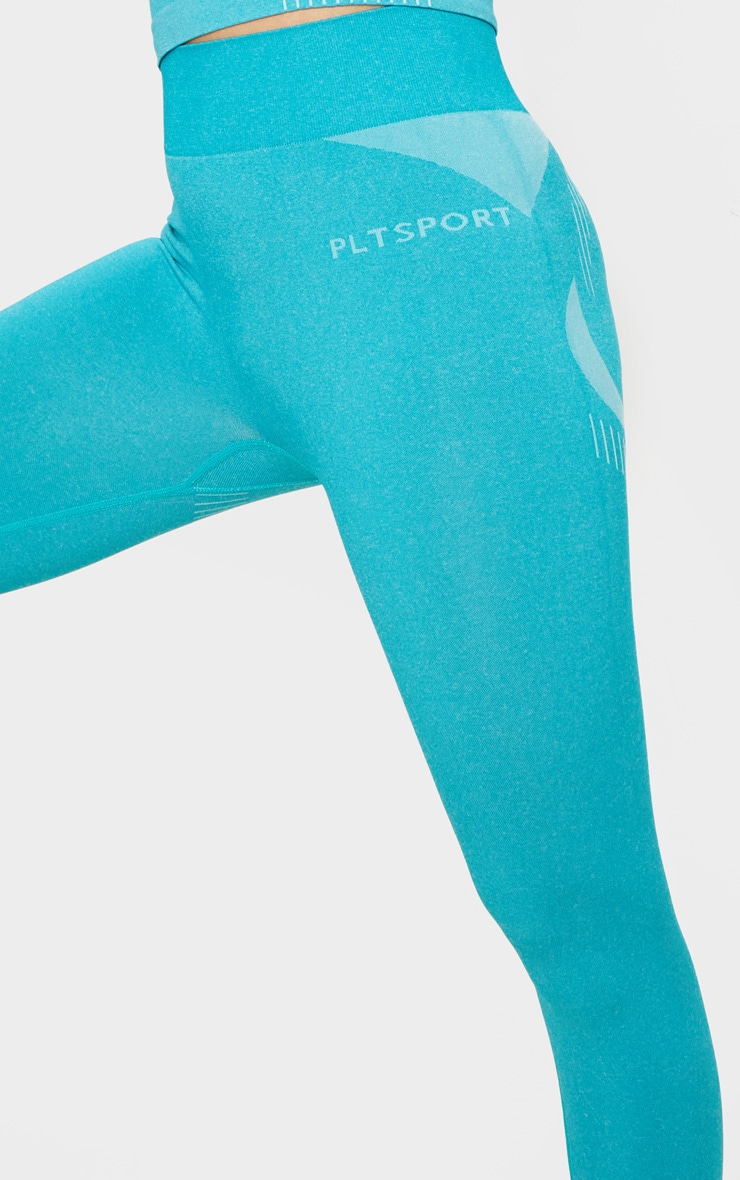 PRETTYLITTLETHING Turquoise Sport Seamless Contour Cropped Leggings 4