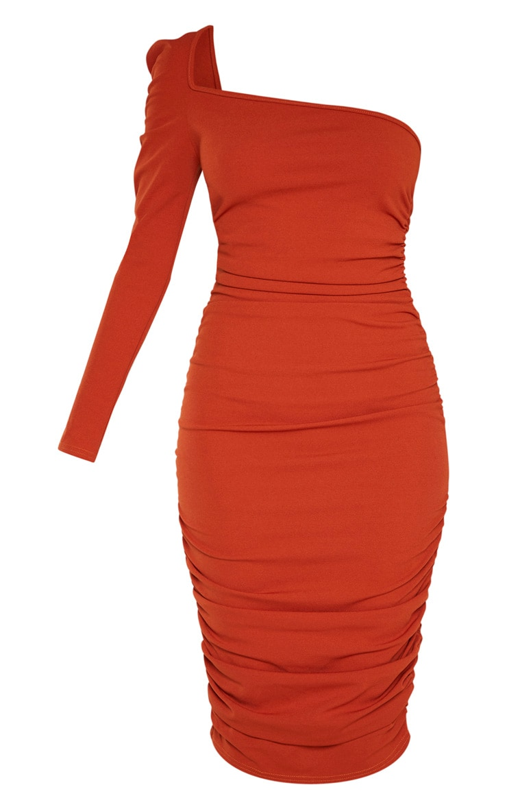 Rust One Shoulder Ruched Detail Midi Dress 3