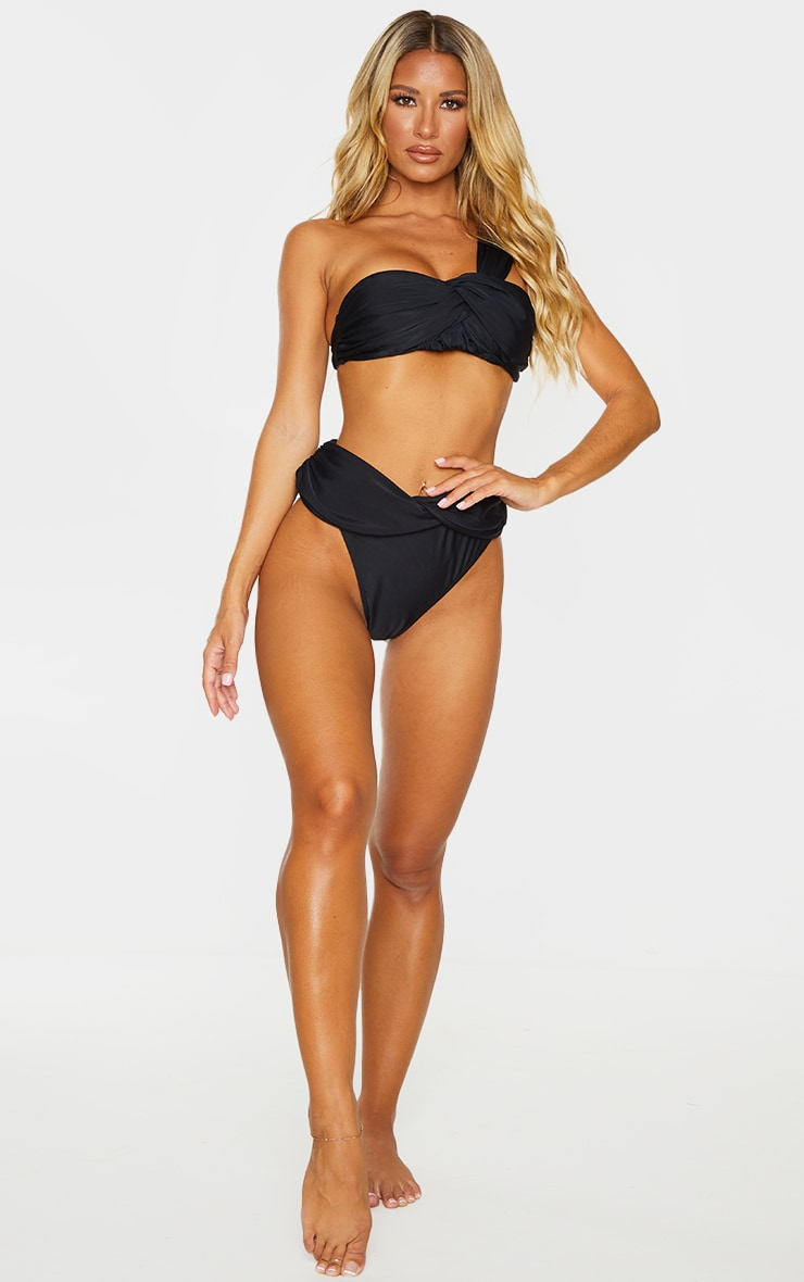 Black Padded Tie One Shoulder Bikini Top 3