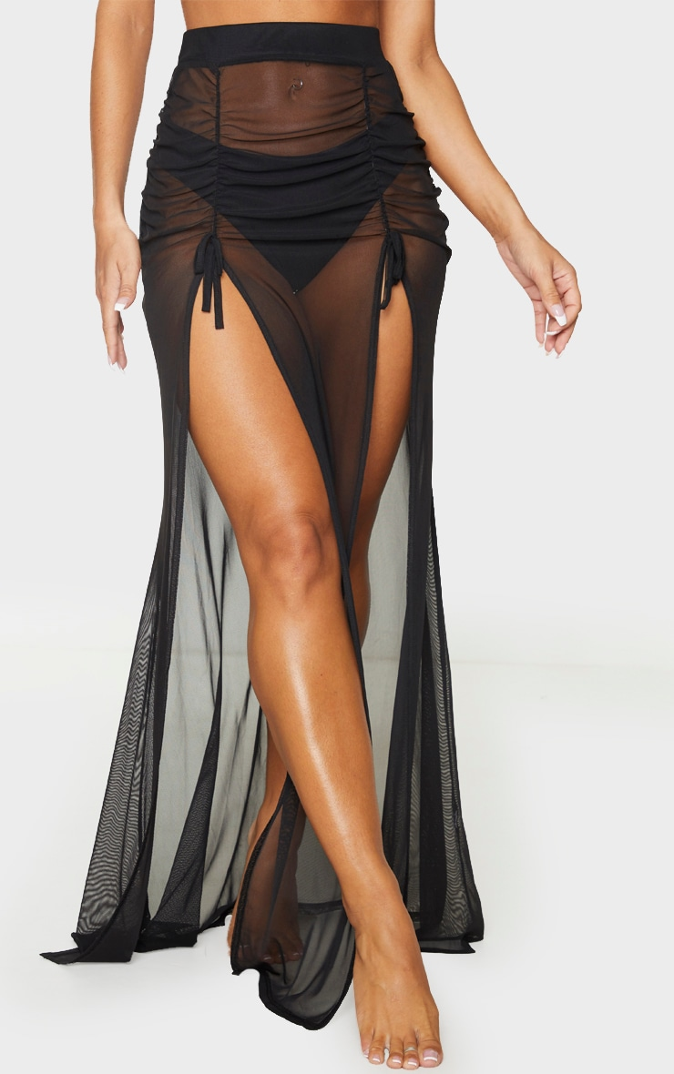 Black Split Ruched Maxi Skirt 2