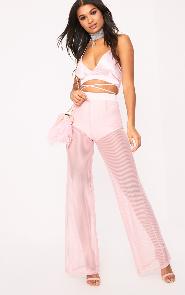 Shamira Pink Sheer Stripe Wide Leg Trousers 1