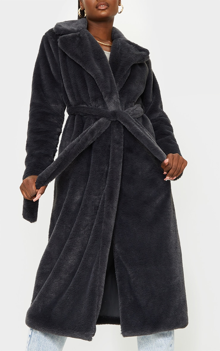 Tall Grey Belted Faux Fur Coat 4