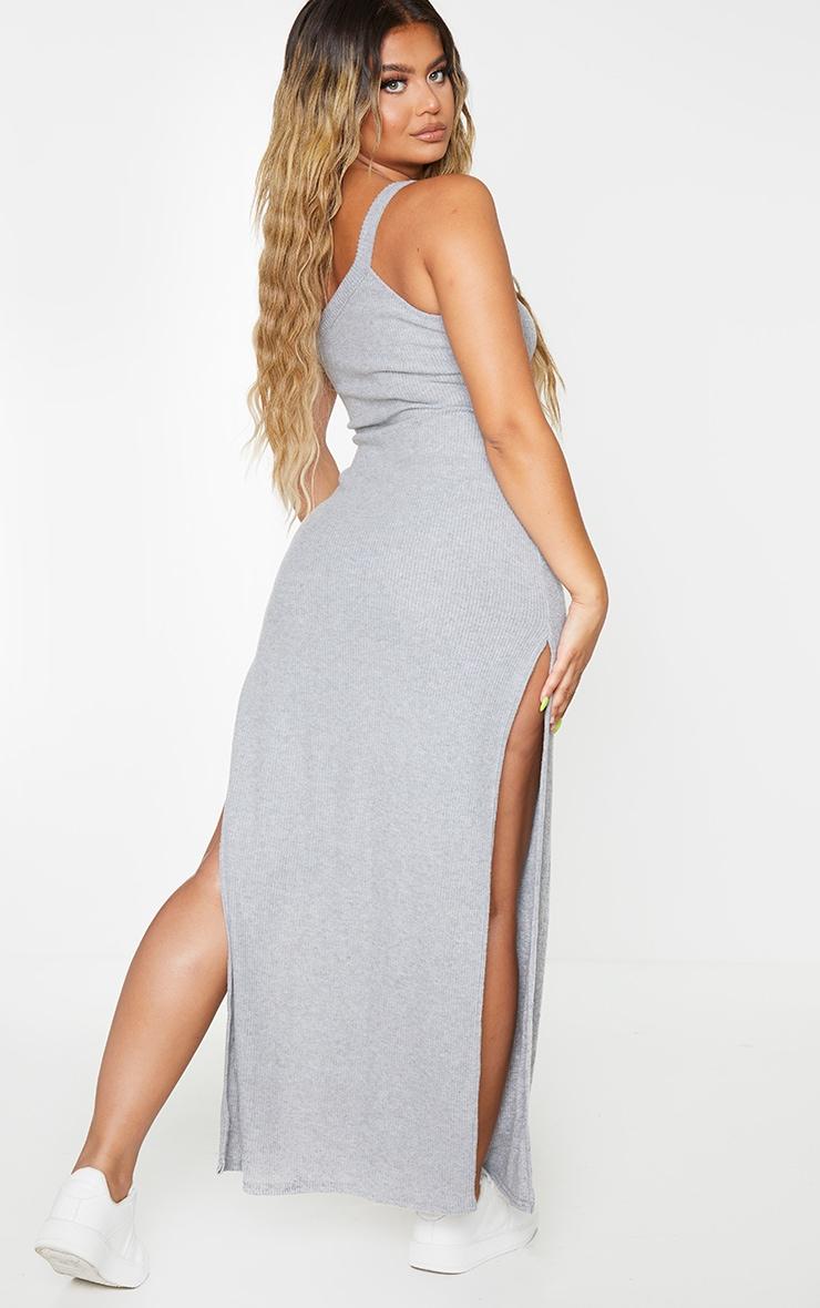 Grey One Shoulder Brushed Rib Split Maxi Dress 2
