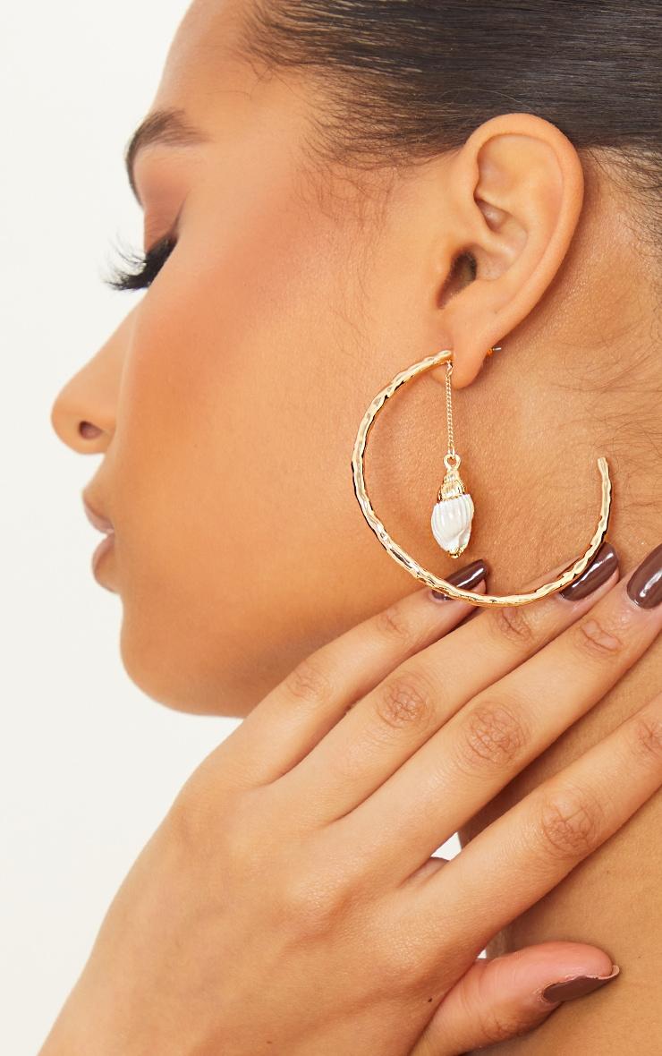 Gold Hammered Shell Drop Hoop Earrings 1