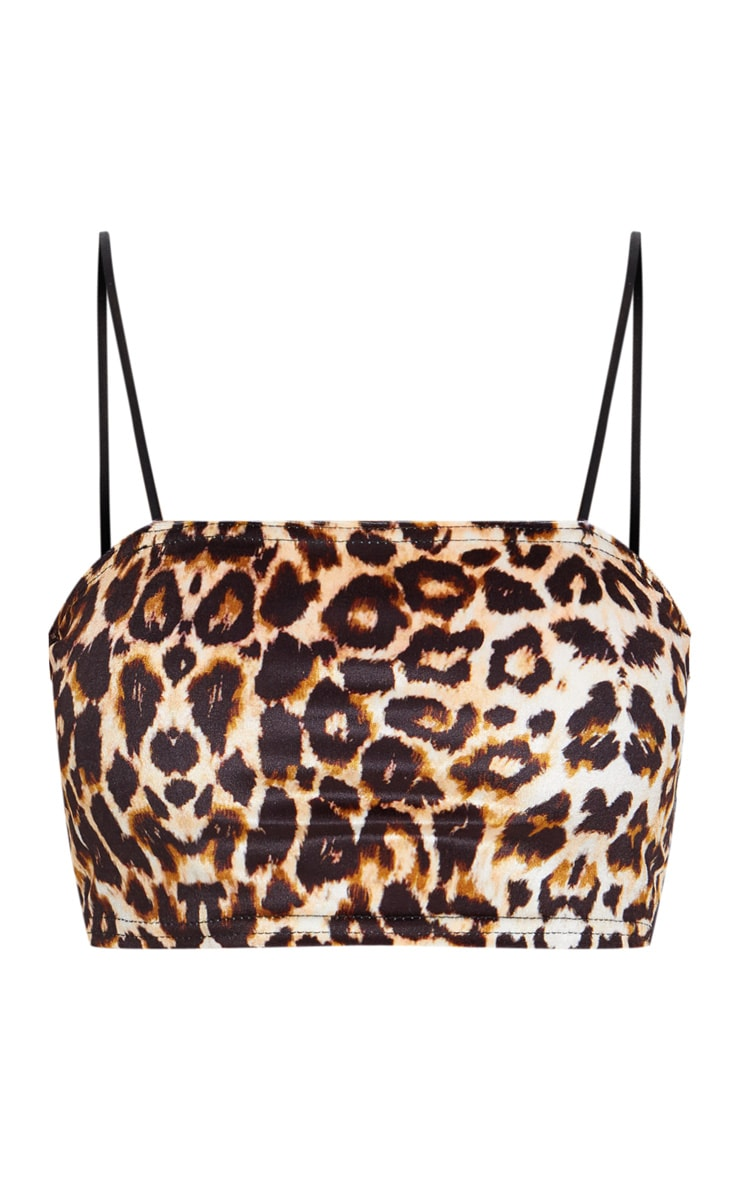 Leopard Print Velvet Strappy Crop Top 3