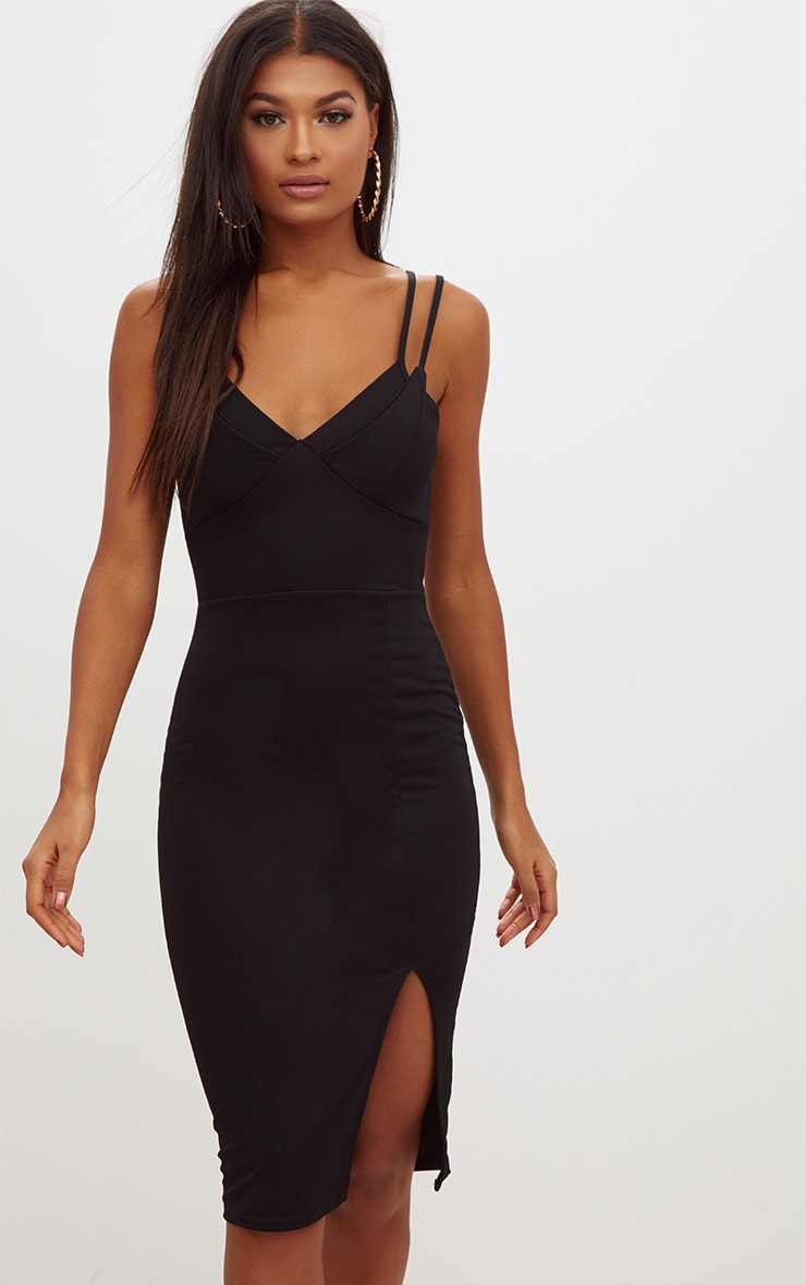 Black Double Strap Midi Dress 1
