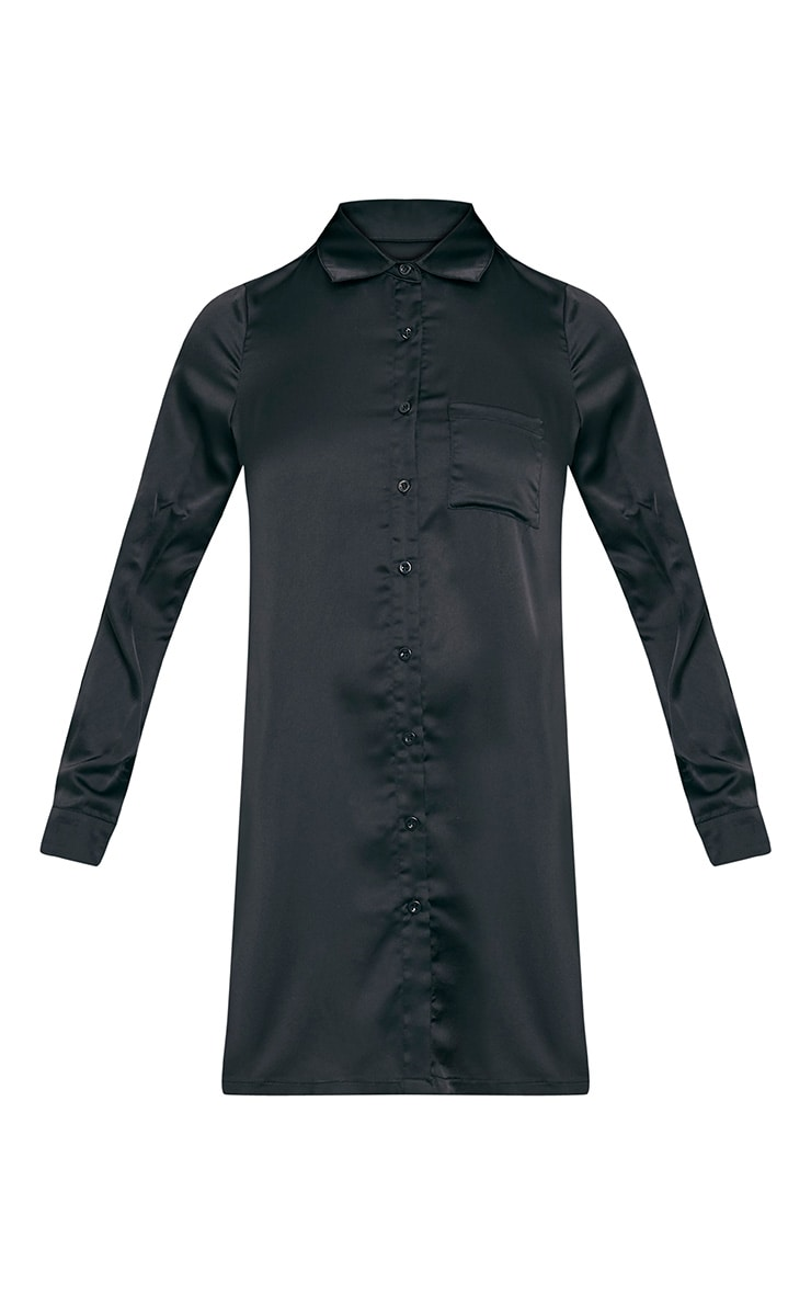 Layla Black Satin Shirt Dress 3
